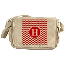Any Letter, Red and White Chevron Mo Messenger Bag