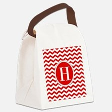 Any Letter, Red and White Chevron Canvas Lunch Bag