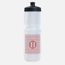 Any Letter, Red and White Chevron Mo Sports Bottle