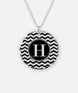 Any Letter, Black and White Necklace