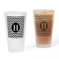 Any Letter, Black and White Chevron Drinking Glass
