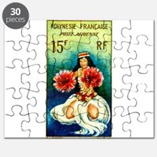 1964 French Polynesia Tahitian Dancer Stamp Puzzle