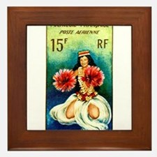 1964 French Polynesia Tahitian Dancer Stamp Framed