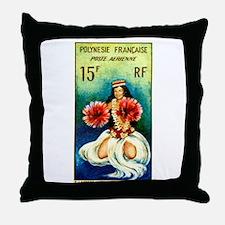 1964 French Polynesia Tahitian Dancer Stamp Throw