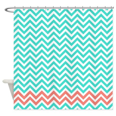 Turquoise And Coral Pink Zigzags Shower Curtain By Retroculture
