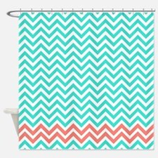 Turquoise and coral pink zigzags Shower Curtain