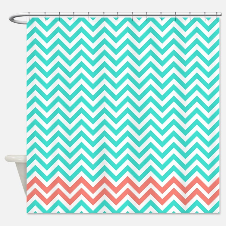 Turquoise and coral shower curtains turquoise and coral for Turquoise and pink bathroom
