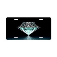 Aqua Diamond Aluminum License Plate