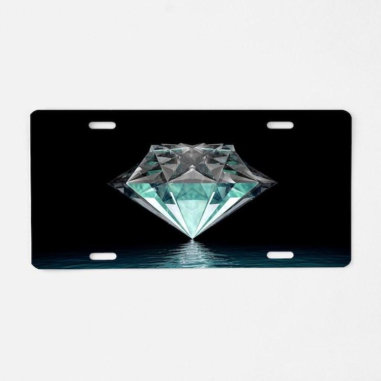 Aqua Diamond Aluminum License Plate