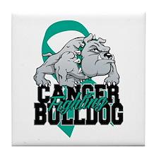 Ovarian Cancer Bulldog Tile Coaster