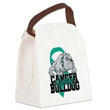 Ovarian Cancer Bulldog Canvas Lunch Bag