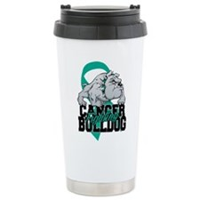 Ovarian Cancer Bulldog Travel Coffee Mug