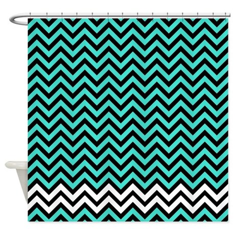 Turquoise And White Zigzags Shower Curtain By Laughoutlouddesigns1