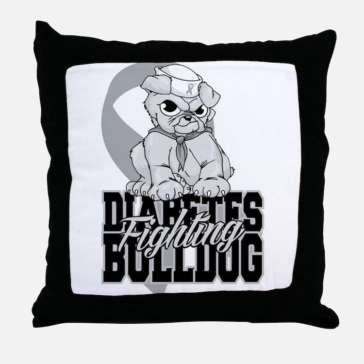 Diabetes Bulldog Pup Throw Pillow