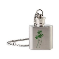 Lucky 4 leaf clovers Flask Necklace