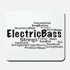 Electric Bass Word Cloud Mousepad