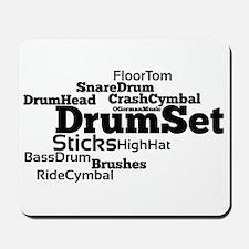 Drum Set Word Cloud Mousepad
