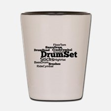 Drum Set Word Cloud Shot Glass