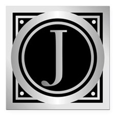 "Deco Monogram J Square Car Magnet 3"" x 3"""