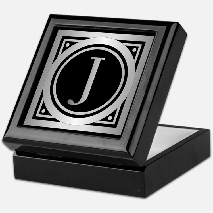 Deco Monogram J Keepsake Box