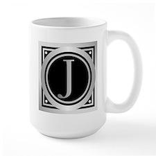 Deco Monogram J Mugs