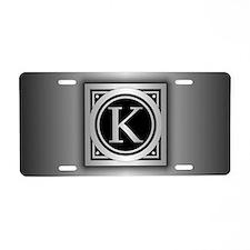 Deco Monogram K Aluminum License Plate