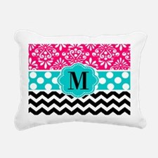 Pink Teal Black Chevron Dots Personalized Rectangu