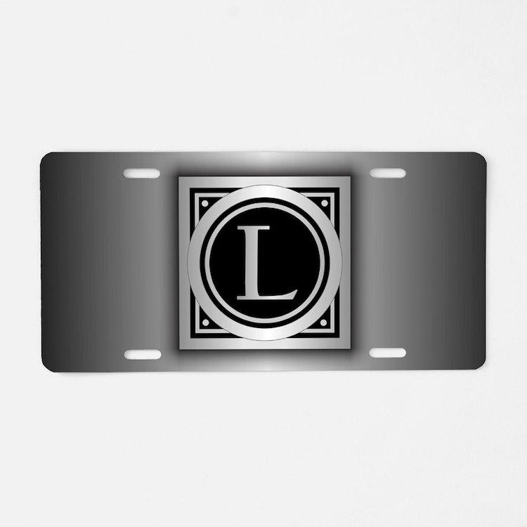 Deco Monogram L Aluminum License Plate