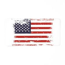 Grunge American Flag Aluminum License Plate