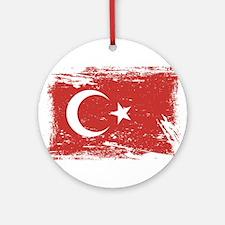 Grunge Turkey Flag Ornament (Round)