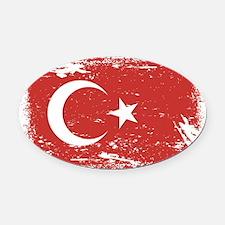 Grunge Turkey Flag Oval Car Magnet