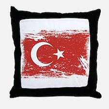 Grunge Turkey Flag Throw Pillow