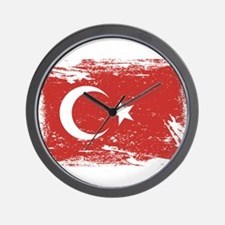 Grunge Turkey Flag Wall Clock