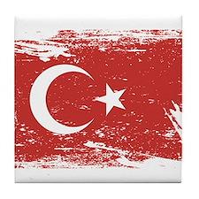 Grunge Turkey Flag Tile Coaster