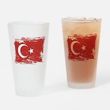 Grunge Turkey Flag Drinking Glass