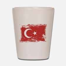 Grunge Turkey Flag Shot Glass