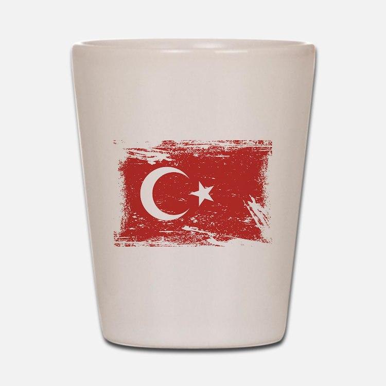 Grunge Turkey Flag Shot Glass