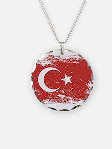 Grunge Turkey Flag Necklace