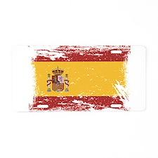Grunge Spain Flag Aluminum License Plate