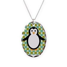 Penguin on Blue and Green Necklace
