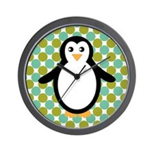 Penguin on Blue and Green Wall Clock