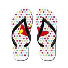 Red and Yellow Airplane on Dots Flip Flops
