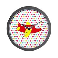 Red and Yellow Airplane on Dots Wall Clock