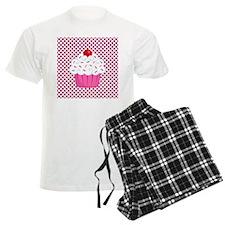 Cupcake on Pink and Black Polka Dots Pajamas