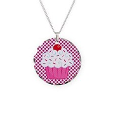 Cupcake on Pink and Black Polka Dots Necklace
