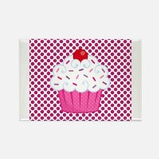 Cupcake on Pink and Black Polka Dots Magnets