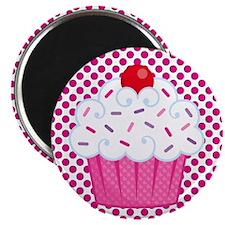 Cupcake on Pink and Black Polka Dots Magnets