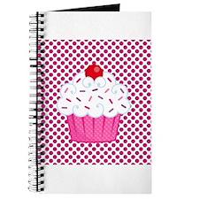 Cupcake on Pink and Black Polka Dots Journal