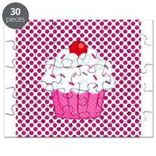 Cupcake on Pink and Black Polka Dots Puzzle