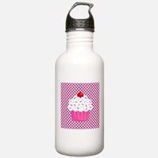 Cupcake on Pink and Black Polka Dots Water Bottle